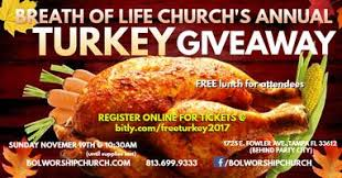 breath of church free thanksgiving turkey giveaway tickets