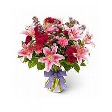 laprentania vase arrangement of pink flowers ed9