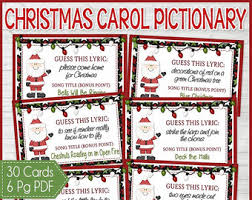 free printable christmas song lyric games printable travel road trip game cards for pictionary or