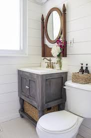 white diy bathroom vanity featuring shades of blue