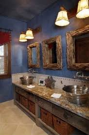 Rustic Cabin Bathroom - rustic cabin bathroom with blue denim walls by design house inc