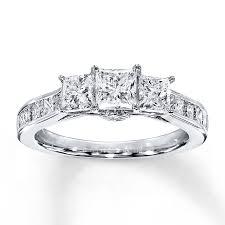 kay jewelers rings kayoutlet 3 stone diamond ring 2 ct tw princess cut 14k white gold