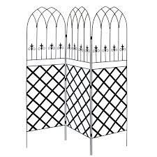 category 6 ft high 3 panel black metal lattice screen garden