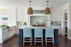 Cottage Kitchen Island Navy Kitchen Island With Turquoise Stools Cottage Kitchen