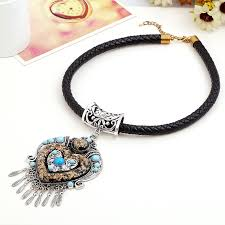 choker necklace with pendant images Europe and american bohemian flowers power tassel choker necklace jpg