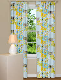 Yellow Brown Curtains Window Curtain With Floral Design In Blue Yellow And Grey