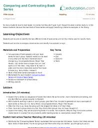 comparing and contrasting book series lesson plan education com