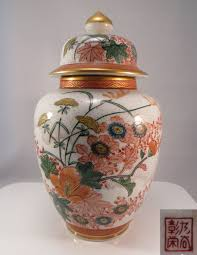 japanese porcelain kutani urn ginger jar vase flowers u0026 birds