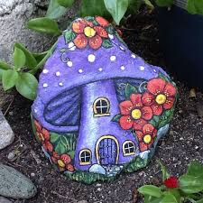 Painting Rocks For Garden Purple House Pretty Painted Rock Home For Or
