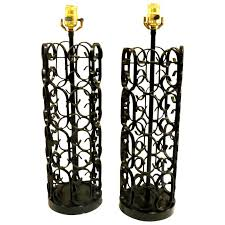Iron Table Lamps 1960s Rare Pair Of Iron Table Lamps By Arthur Umanoff The Grenada
