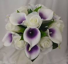 picasso calla silk wedding bouquet white purple picasso calla
