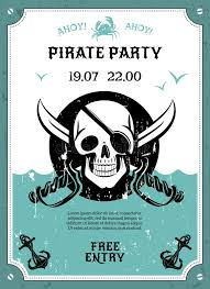 pirate party pirate party announcement poster with skull stock vector