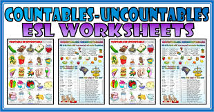 Countable And Uncountable Nouns Explanation Pdf Countables And Uncountables Esl Printable Worksheets And Exercises