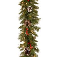 national tree pre lit 9 x 10 frosted berry garland with 100
