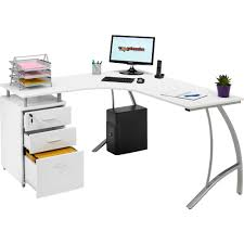 sleek computer desk furniture white corner computer table with three lockable drawer