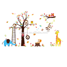 monkey stickers for walls all about whole zooyoo removable pvc wall sticker kids tree