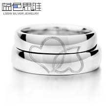engraved wedding bands blue sweet rings interlocking hearts engraved wedding