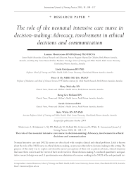 Responsibilities Of A Neonatal Nurse The Role Of The Neonatal Intensive Care Nurse In Decision U2010making