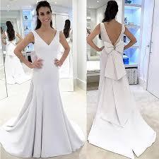 satin wedding dresses sheath v neck sweep backless ivory satin wedding dress with