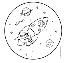 coloring pages with rocket for kids with cat printable free