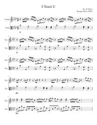 Violin Cover Sheet Music by I Need U Bts Viola U0026 Violin Musescore