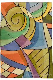 Modern Green Rugs Kandinsky Green Purple Wool Rug Wall Tapestry Embroidered
