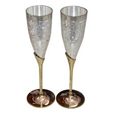 Wine Goblets Handmade Silver Gold Plated Coated Brass Wine Goblet Glass Set Of