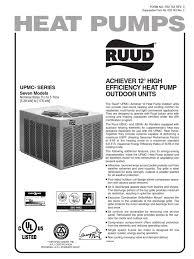 ruud umpc series manual heat pump thermostat