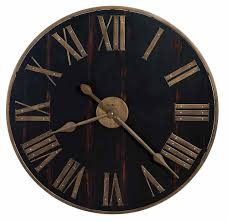 howard miller worn black planked dial large round wall clock