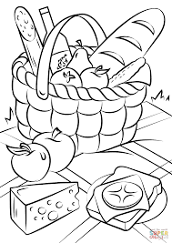awesome collection of printable picnic basket coloring page about