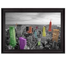 wall26 com art prints framed art canvas prints greeting wall26 black and white photograph of new york with colorful buildings framed art prints home decor 24x36 inches