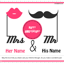 anniversary greeting cards write name on happy anniversary greeting card