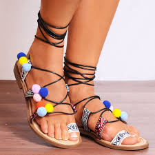 ladies black strappy pom pom open toe flat ankle tie wrap sandals