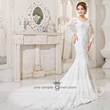 wedding dress malaysia sleeve v neck lace embroidery mermaid dress onesimplegown