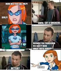 anti omniverse gwen meme snickers commercial by popaandreea on