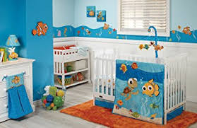amazon com disney finding nemo 4 piece crib bedding set blue baby