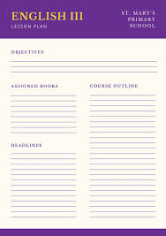 violet beige formal education english lesson plan templates by canva
