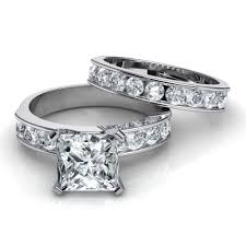 bridal sets rings princess cut engagement ring matching wedding band bridal set