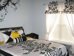 White And Black Damask Curtains Damask Teen Room
