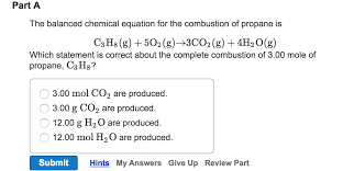 question the balanced chemical equation for the combustion of propane is c 3h 8 g 5o 2 g rightarrow