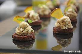 canap ap o cold canape truffled cauliflower panna cotta on lemon biscotti