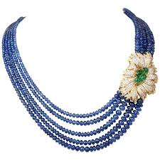 beaded necklace clasps images Brilliant sapphire beaded necklace with emerald diamond gold jpg