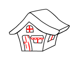 cartoon house drawing in 7 easy steps