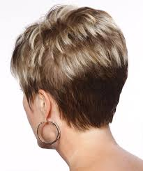 front and back views of chopped hair short straight formal hairstyle with layered bangs light
