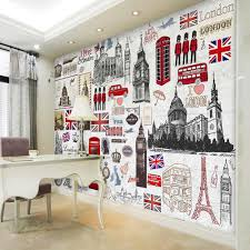 online get cheap london wall murals aliexpress com alibaba group european retro london wall mural 3d poster murals wallpaper for living room tv background house decor