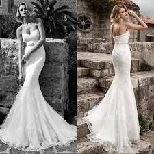 lace mermaid wedding dress 2017 lace mermaid wedding dresses strapless applique beaded