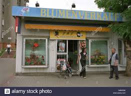 flower shop with a german lettering in slubice poland stock photo