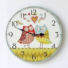 chambre pour amants amant coeur hibou horloge murale 35mm ronde chevron bois horloge