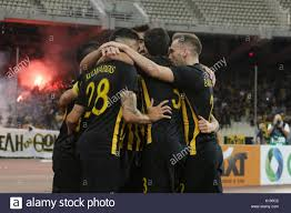 athens greece 24th aug 2017 aek athens players celebrate the