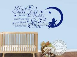 Girls Bedroom Wall Quotes Shoot For The Moon Stars Wall Stickers Baby Boy Nursery